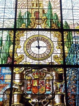 Abando, Train Station, Bilbao, Window, Clock