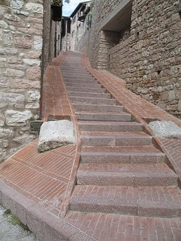 Stairs, Italy, Assisi, Architecture, Town, Europe