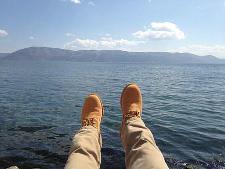 Mountain, Sea Water, Blue Sky, Feet, Yellow Boots