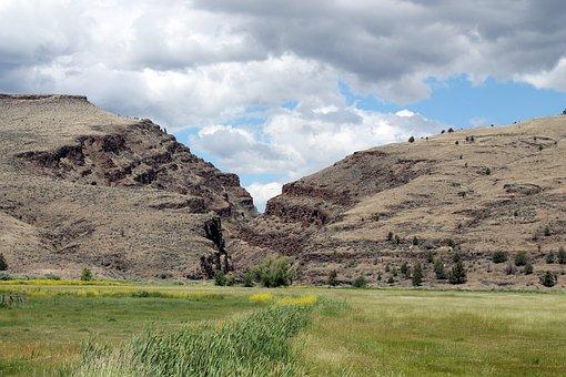 Picture Gorge, Landscape, Oregon, East, John Day, Green