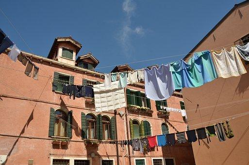 Italy, Venice, City, Was, Washing Day, Laundry, Blue