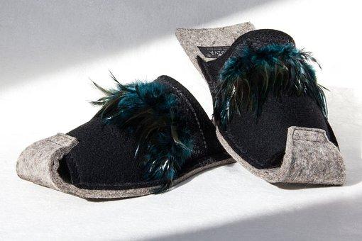 Shoes, Slippers, Felt, Fashionable, Stylish, Trendy