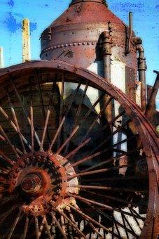 Steam Tractor, Steam Boiler, Metal, Rusty, Tire, Wheel