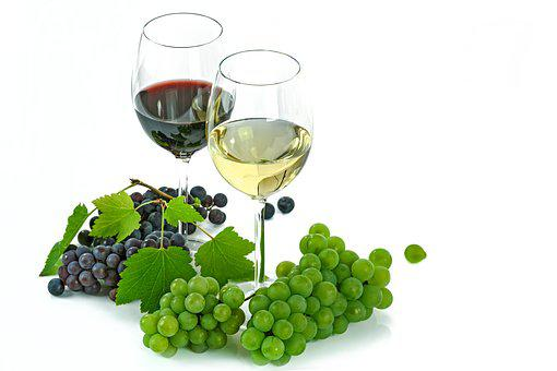 Wine, White, Red, An Isolated, Glass, Grapes