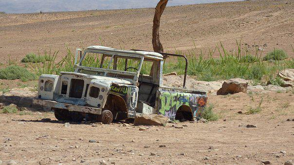 Car, Car Wreck, Jeep, Desert, Rusty, Old Car, Old Jeep
