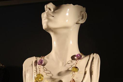 Dummy, Bust, Face, Necklace, Showcase
