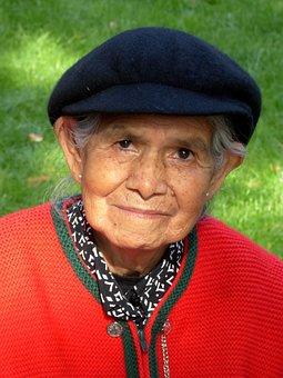 Woman, Old, Human, Face, Grandma, Peruvian, Friendly