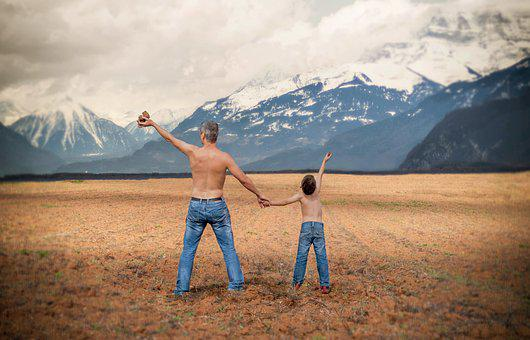 Father, Son, Family, Mountain, Happiness, Couple, Field