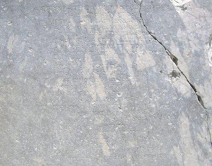 Rhodes, Greece, Island, Stone, The Inscription