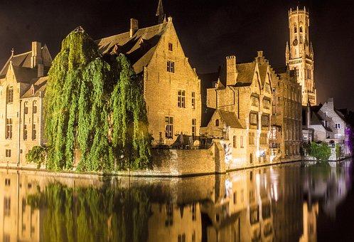 Bruges, Channels, Nocturne, Night Photography, Belgium
