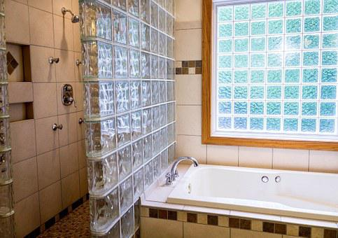 Shower, Tub, Bathroom, Ceramic Tile, Glass Blocks