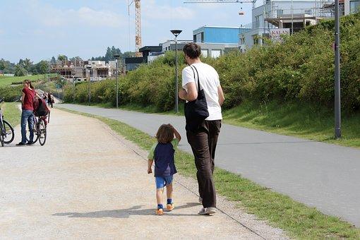 Father, Papa, Son, Walk, Run, Go, Go For A Walk