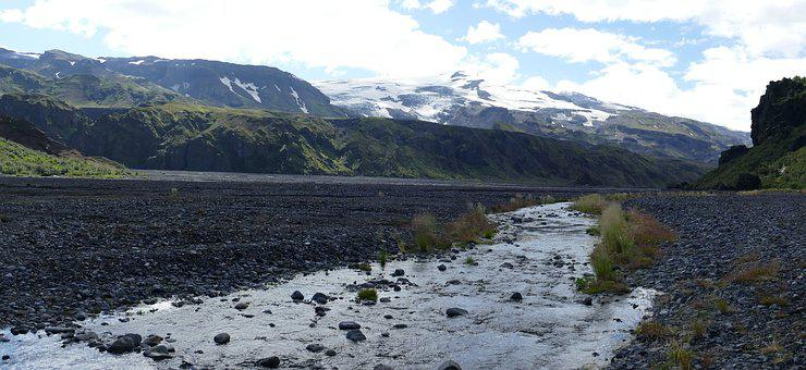 Iceland, Thor Mark, River, Pebble, Mountains, Nature