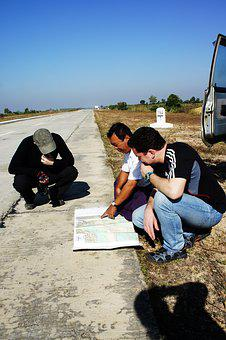 Route, Atlas, Road Map, Explain, Tourists, Roadside