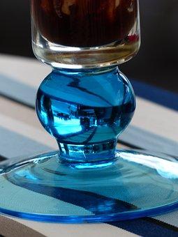 Glass, Blue, Ice Cream Sundae, Glass Base, Foot