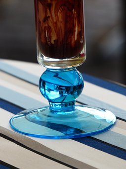 Glass, Blue, Ice Cream Sundae, Glass Base, Foot