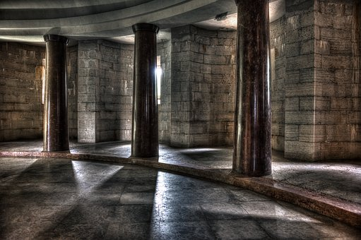 Colonnade, Columns, Ancient, Shadows, Interior, Marble