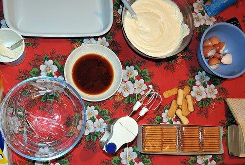Prepare, Sweet, Tiramisu, Cream, Biscuits, Coffee