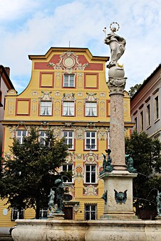 Stucco Façade, Fountain, Marketplace, Old Town