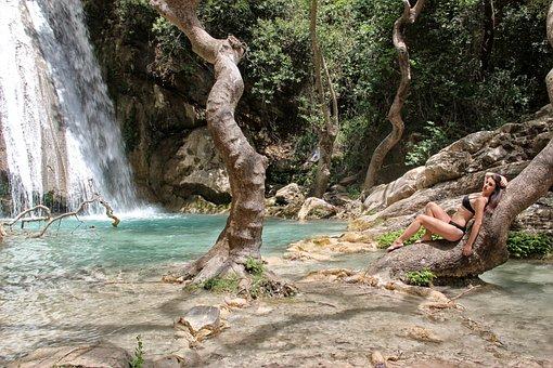 Waterfalls, Young Woman, Bikini, Model, Tree, Posing