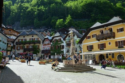 Austria, Hallstatt, May 2015, City Centre, Tourists