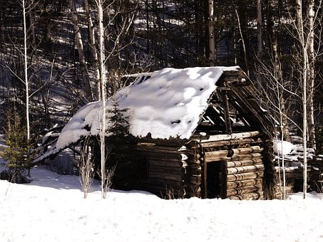 Old Log Cabin, Winter, Snow, Nature, Log, Cabin, House