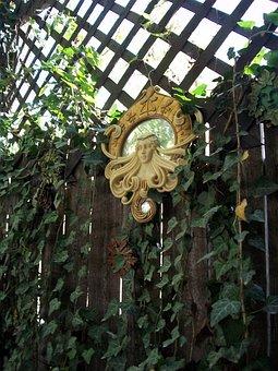 Garden, Ivy, Mirror, Goddess, Decoration, Vine, Nature