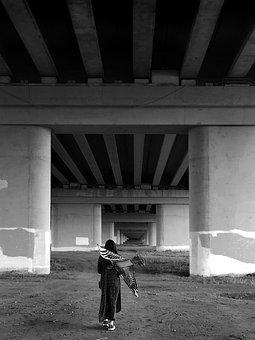 Kite, City, Passage, Arch, Bridge, Loneliness, Mood