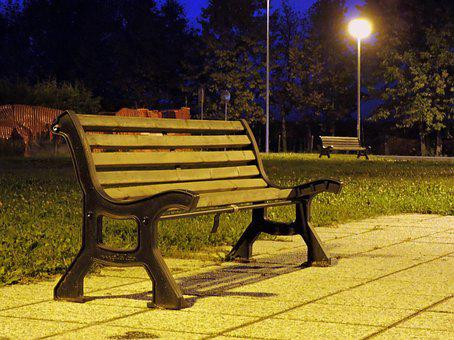 Bench, Night, Light, Lighting, Park, Solitude, Nothing
