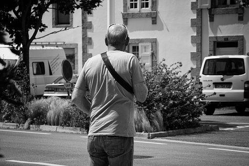 Man, Character, Black And White, Only, Man From Back