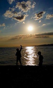 Children, Landscape, Marine, Beach, Peace, Nature, Boat