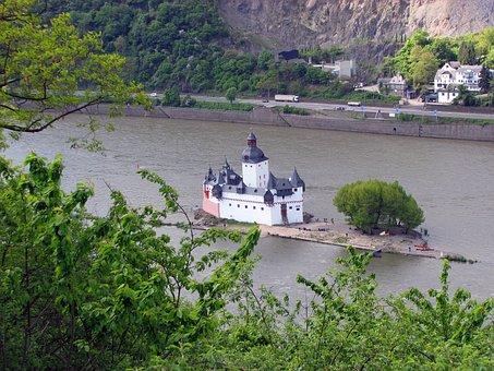 Island, Kaub, Castle, Rhine, Water, River