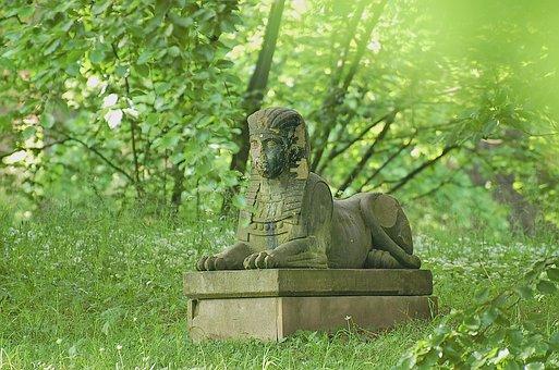Sphinx, Statue, Green, Stone Figure, Sculpture, Fig