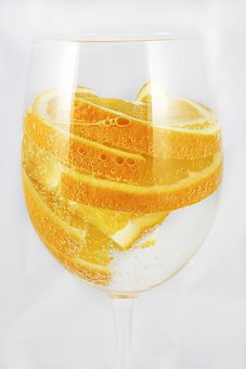 Oranges, Sparkling Water, A Glass Of, Tropical Flavor
