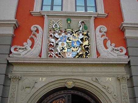 Town Hall, Portal, Renaissance, Coat Of Arms, Gotha