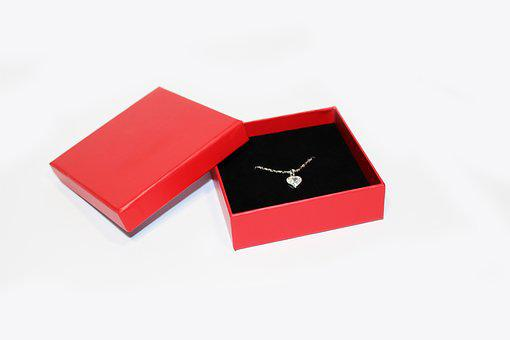 Jewel, Chain, Box, Sweetheart, Heart, Red Box, Crystal