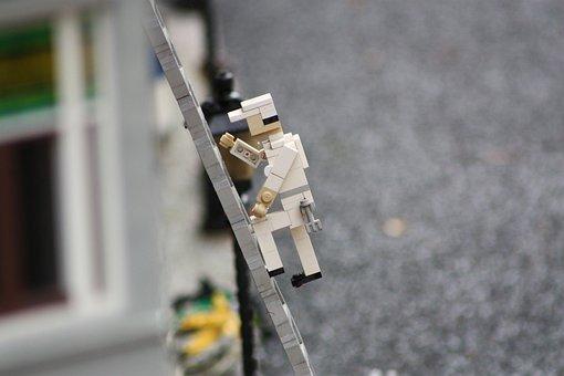 Legoland, Lego, Ladder, Man, Crawl, Upward
