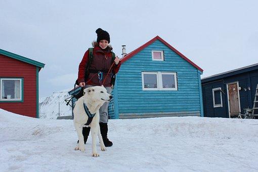 Dog, Girl, Winter, Norway, Svalbard, Laika, Arctic