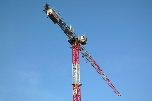Baukran, Crane, Build, Site, Sky, Construction Work
