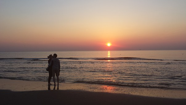 Lovers, Pair, Togetherness, Embrace, Sunset, Together