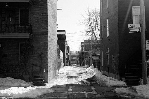 Montreal, Houses, City, Street, Snow, Town, Urban