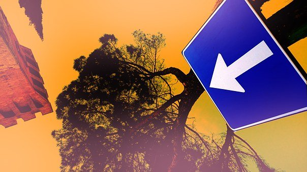 Roadsign, Arrow, One Way, Color Splash, Blue Orange