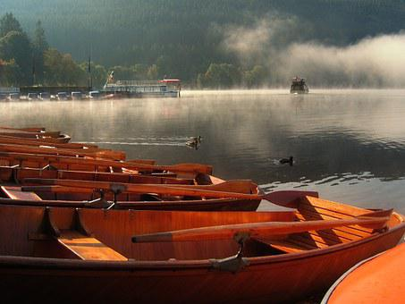 Rowing Boats, Fog, Boats, Port, Web, Lake, Water, Dock