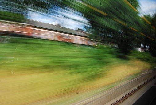 Train, Rail, High Speed, Grass, House, Passenger, Fast