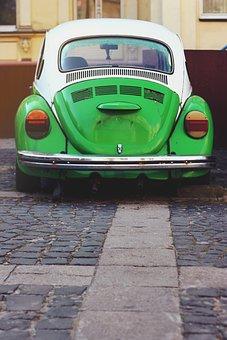 Green, Car, Vw, Volkswagen, Beetle, Old