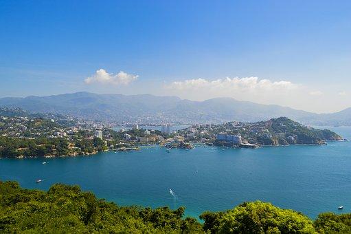 Acapulco, Beach, Blue, Sunset, Sunny, Mexico, Paradise