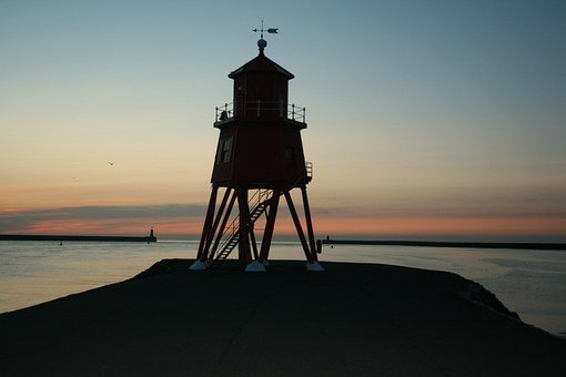 Tyne, Sunrise, South Shields, Pier, Groyne, Lighthouse