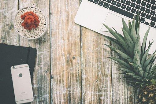 Pineapple, Laptop, Desk, Wood, Table, Flat Lay, Cactus