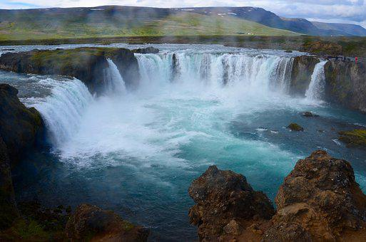 Iceland, Waterfall, Landscape, Nature, Water, Force