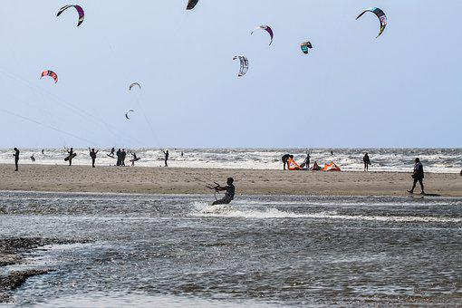 Beach, Kite, Kite Surfing, Sand Beach, St Peter, Ording